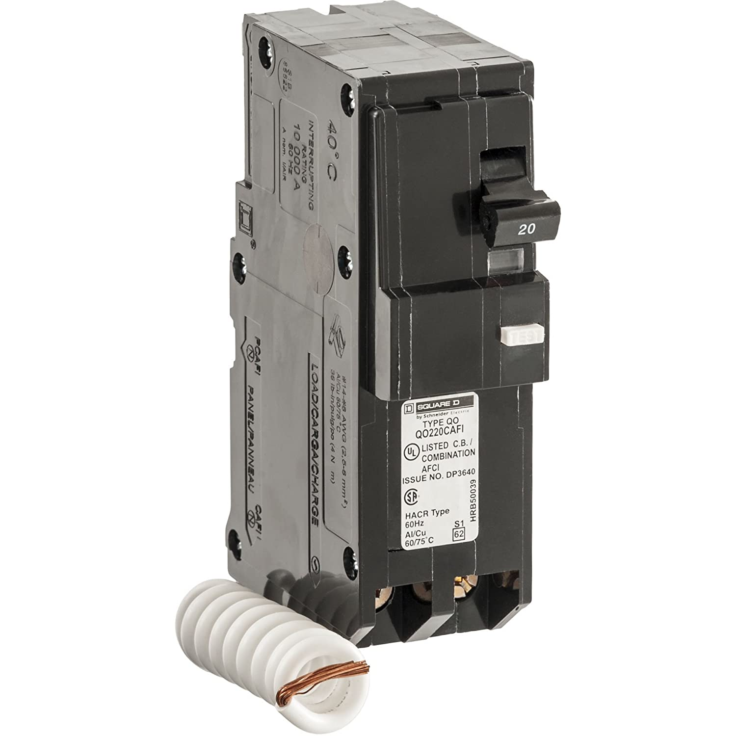 718oAYokQ4L._SL1500_ square d by schneider electric qo 20 amp 3 5 in two pole cafci 240 Volt Breaker Wiring Diagram at gsmx.co