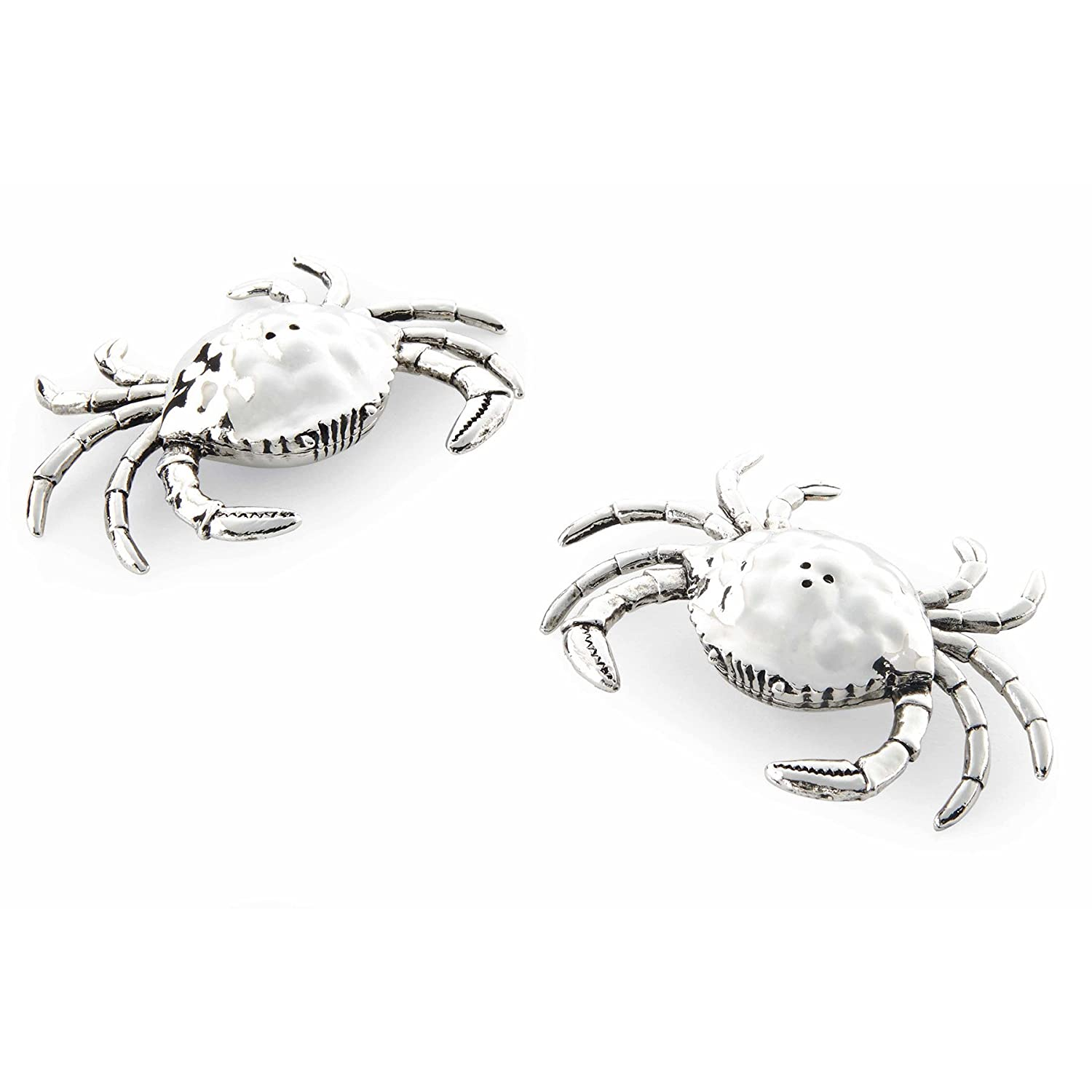 Christmas Tablescape Decor - Silver metal crab salt & pepper shaker set by Mud Pie