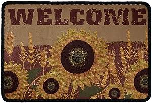 Babrukda Welcome Printed Yellow Sunflower Doormat Party Non-Slip Floor Rugs Garden Patio Mats Water Absorption Carpets Office Home Living Room Kitchen Indoor Entrance Washable Door Mat
