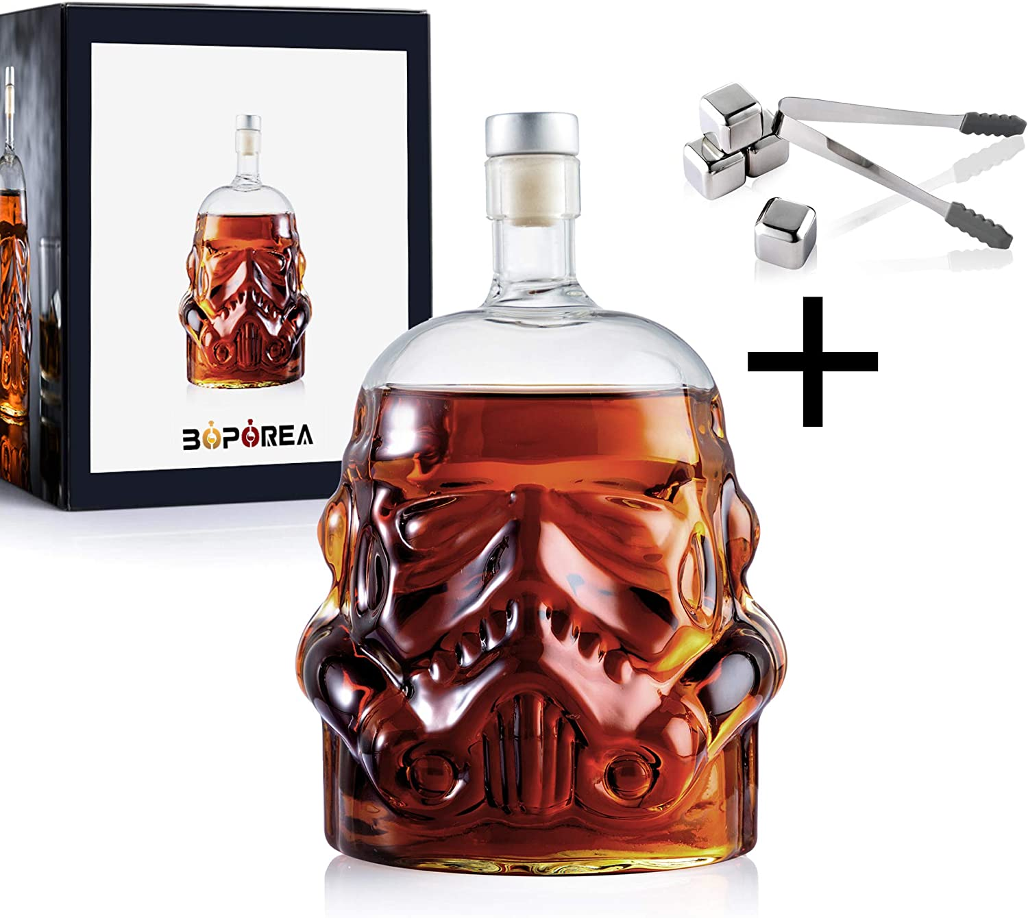 BOPOREA Transparent Creative Whiskey Flask Carafe Decanter with 4 Stainless Steel Ice Cubes and Ice Tong,Stormtrooper Bottle,Whiskey Carafe,for Wine,Brandy,Scotch,Bourbon,Vodka,Liquor-750ml