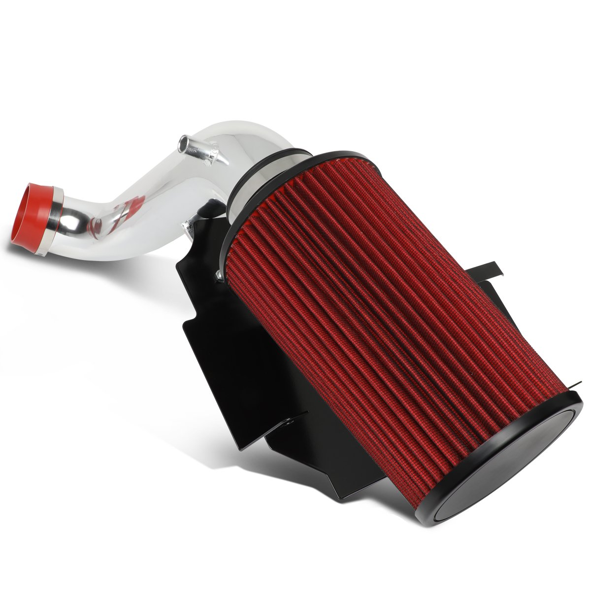 For 2002-2003 Jeep Liberty 3.7L V6 Aluminum Lightweight Hi-Flow Air Intake Kit w/Heat Shield+Red Filter Auto Dynasty