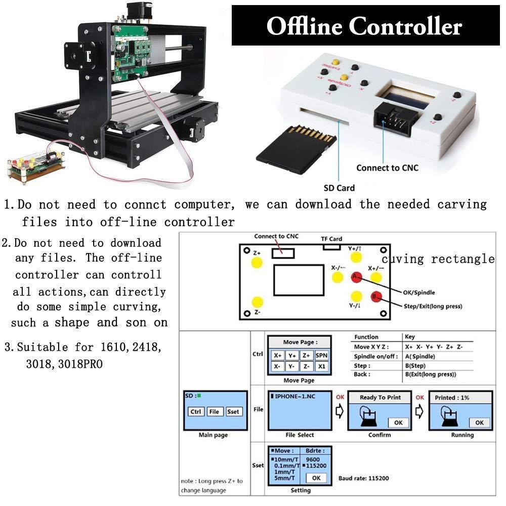 【Nueva versi/ón】M/áquina CNC 3018 Pro Router Kit GRBL Control 3 ejes pl/ástico acr/ílico PCB Talla de madera Fresado M/áquina de grabado con el controlador fuera de l/ínea /Área de trabajo:300x180x45mm