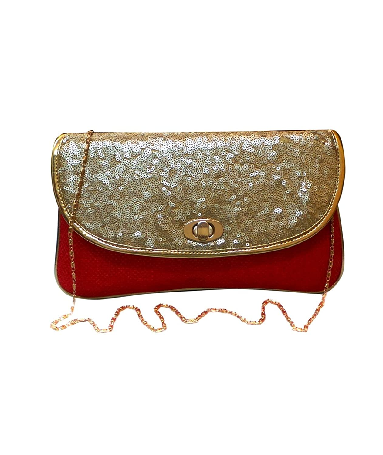 Bhamini Maroon Jute Clutch with sequins work Flap