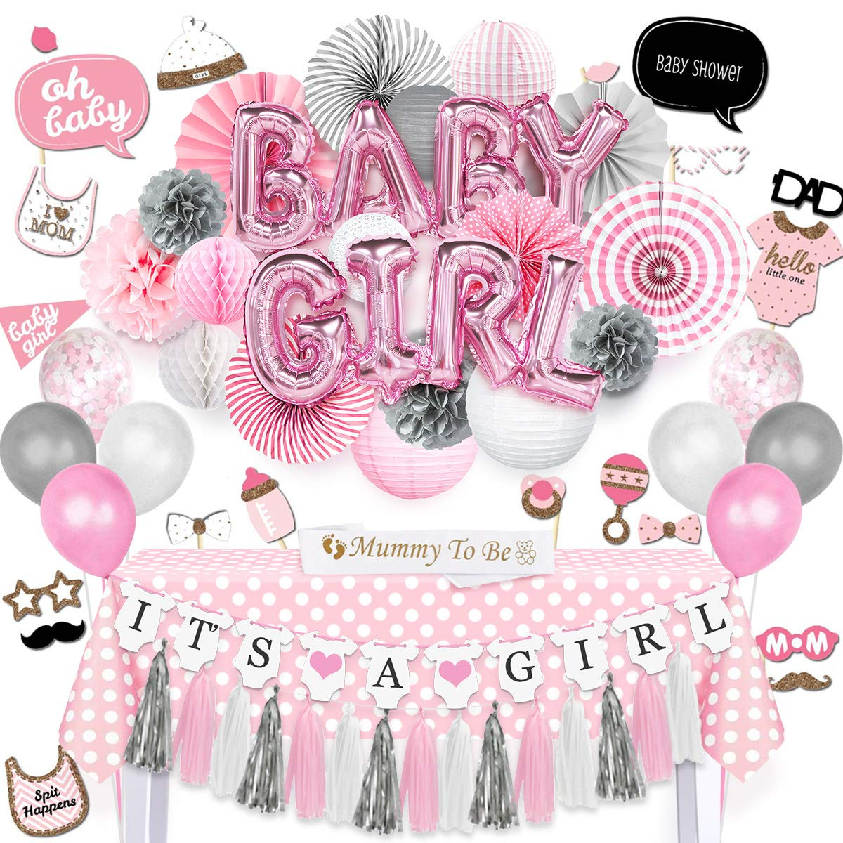 NICROLANDEE Baby Girl Baby Shower Decorations Princess Pink Baby Girl Balloon Paper Lanterns Tissue Poms Party Fans Rectangle Tablecloth Mommy to Be Sash Photo Booth Props for Baby Shower Birthday
