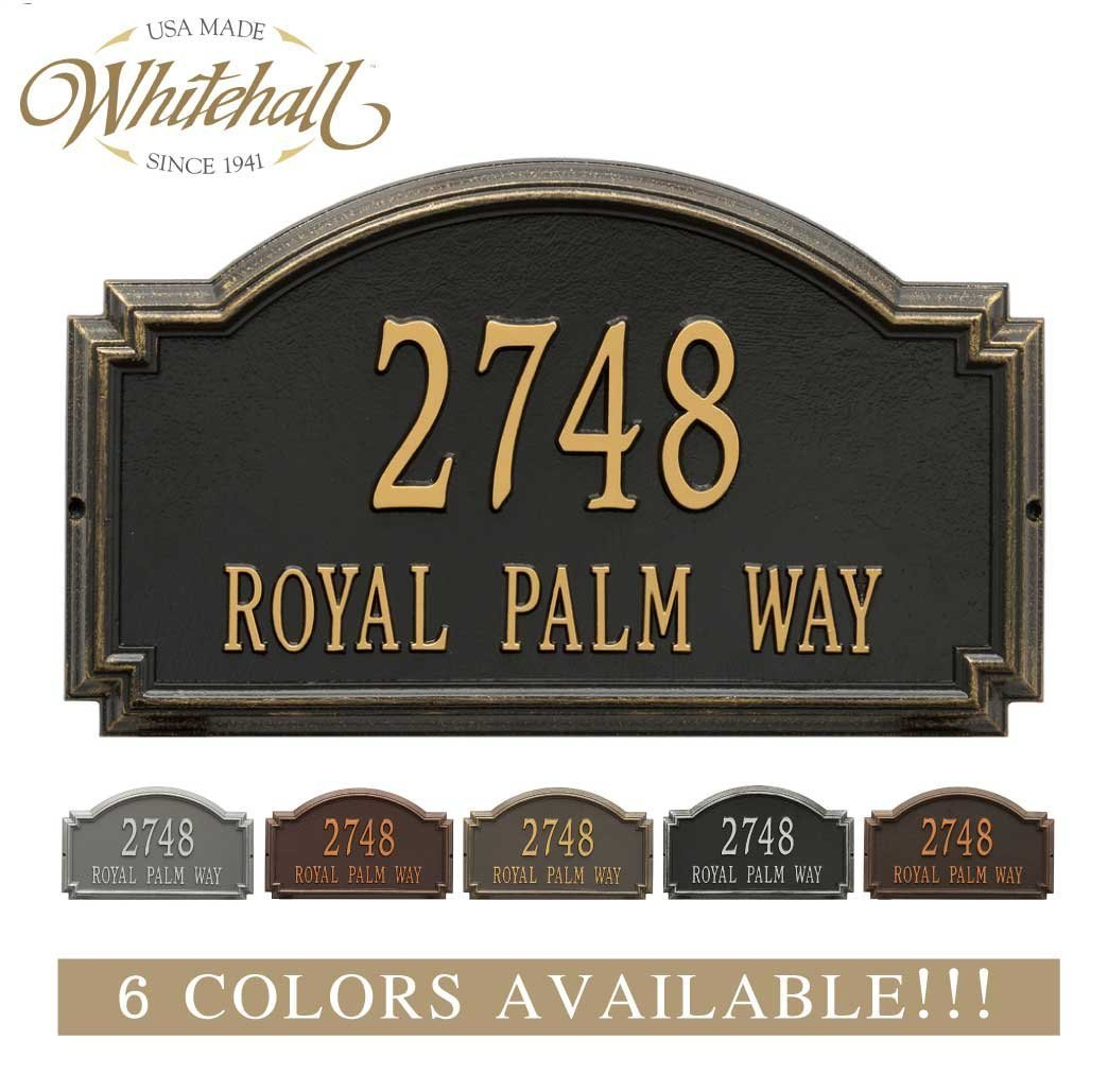 Personalized Cast Metal Address plaque - The Williamsburg Estate. Display your address and street name. Custom house number sign.