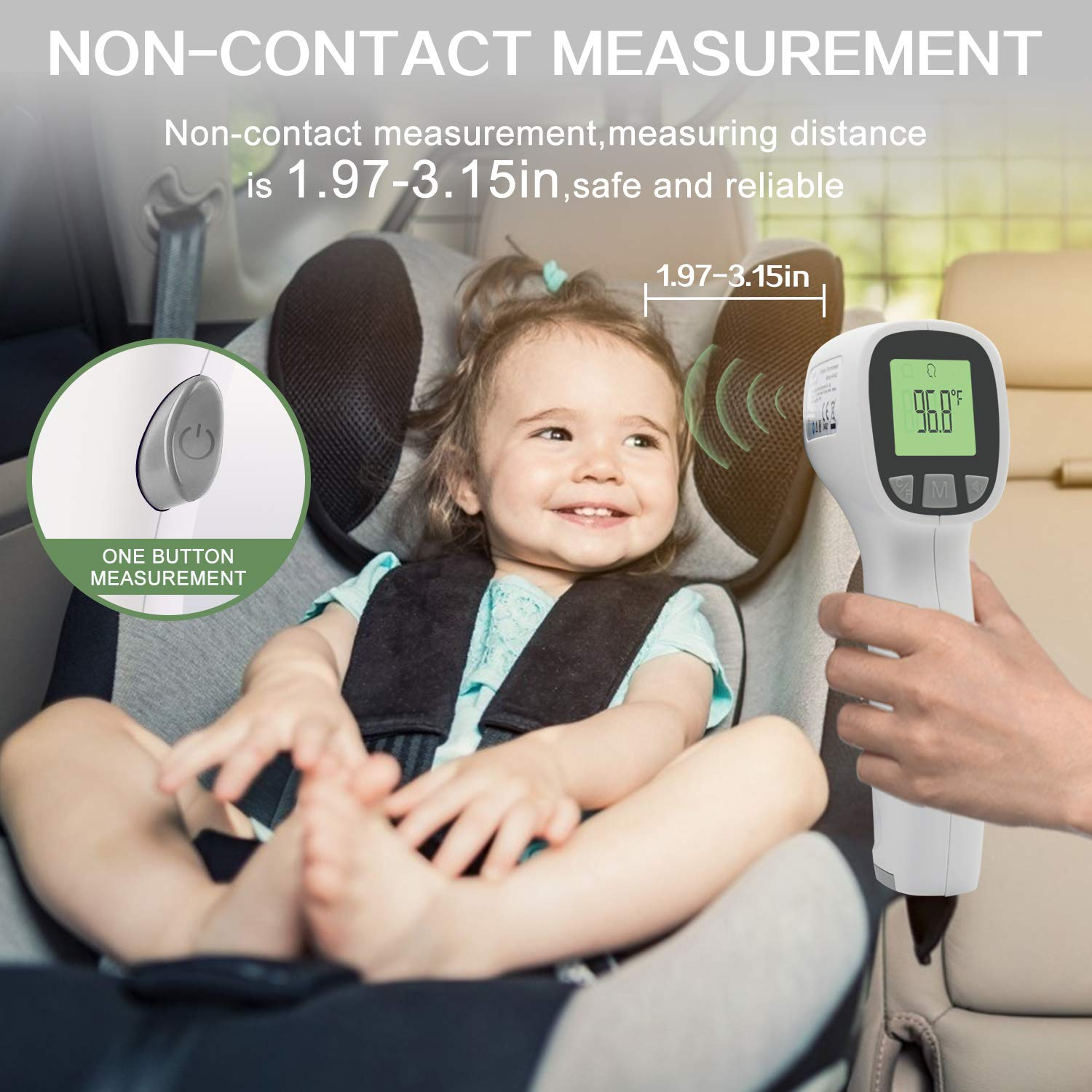 ,Non-Contact Thermometers for Adult and Baby Forehead Forhead Thermometer for Adults Body Temperature with Fever Alarm and Accurate Instant Readings Not Included Batteries