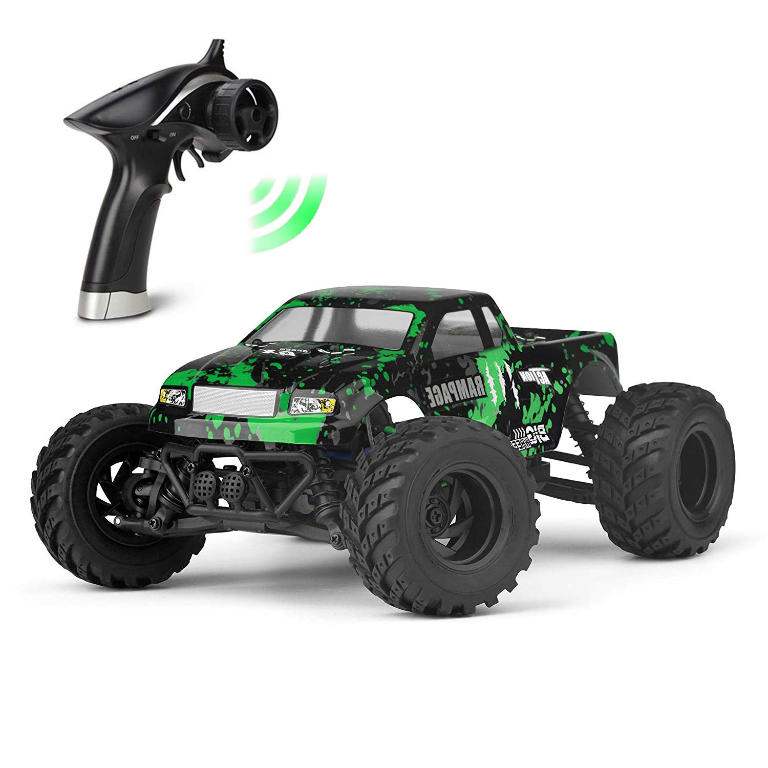 HAIBOXING RC Cars 1/18 Scale 30+MPH High Speed 4WD Electric Vehicle,2.4 GHz Remote-Controlled Electric All Terrain Waterproof Vehicles with Rechargeable Battery for Kids and Adults RTR (Green)