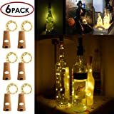 Wine Bottle Cork Light, 6 Pack 30inch/75cm 15 LED Siliver Wire lights for bottle DIY, Wedding, Christmas, Halloween, Party Decoration or Mood Lights(Warm White)