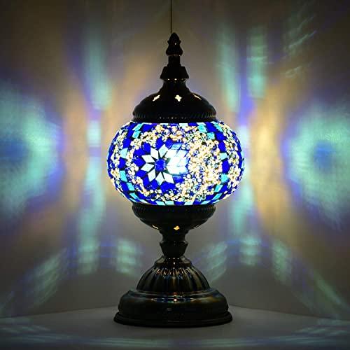 Marrakech Turkish Table Lamp Mosaic Glass Bedside Table Lamp Moroccan Lantern Tiffany Style Night Lights with Bronze Base for Living Room Blue