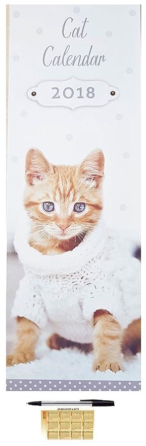 2018 gatos de alto Slim calendario de pared con pluma y bolsillo calendario gatitos de Navidad regalo de cumpleaños oficina en casa: Amazon.es: Oficina y ...