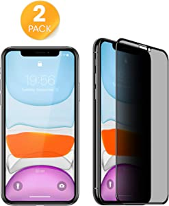 iPhone 11 iPhone XR Privacy Screen Protector (2 Pack) Anti-Spy/Scratch Tempered Glass, [9H Hardness] [High Definition] [Bubble Free] Work with Most Case 100% Touch Accurate (6.1 inch)