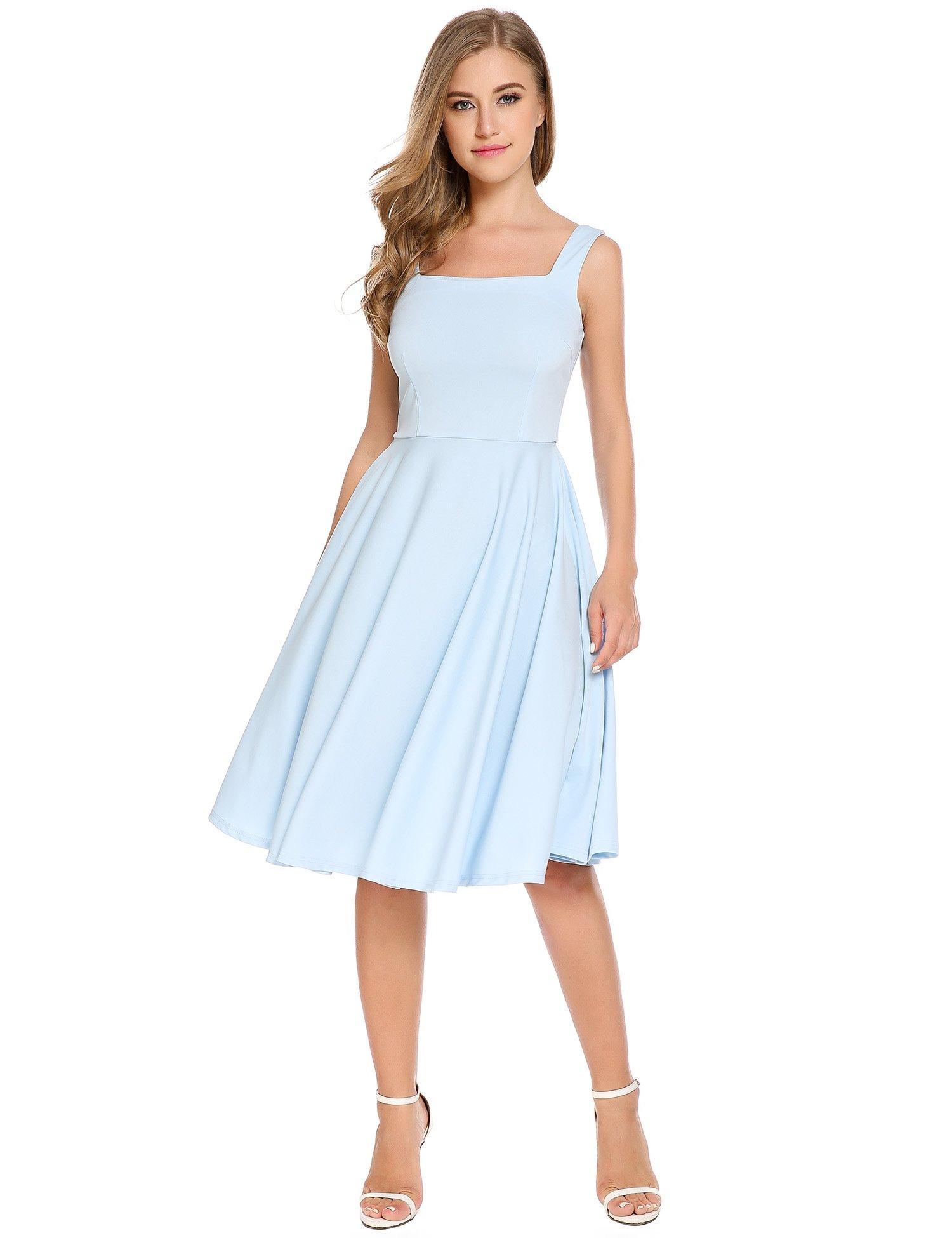 Zeagoo Women Casual Sleeveless Backless Tea Length Pleated Swing Dress