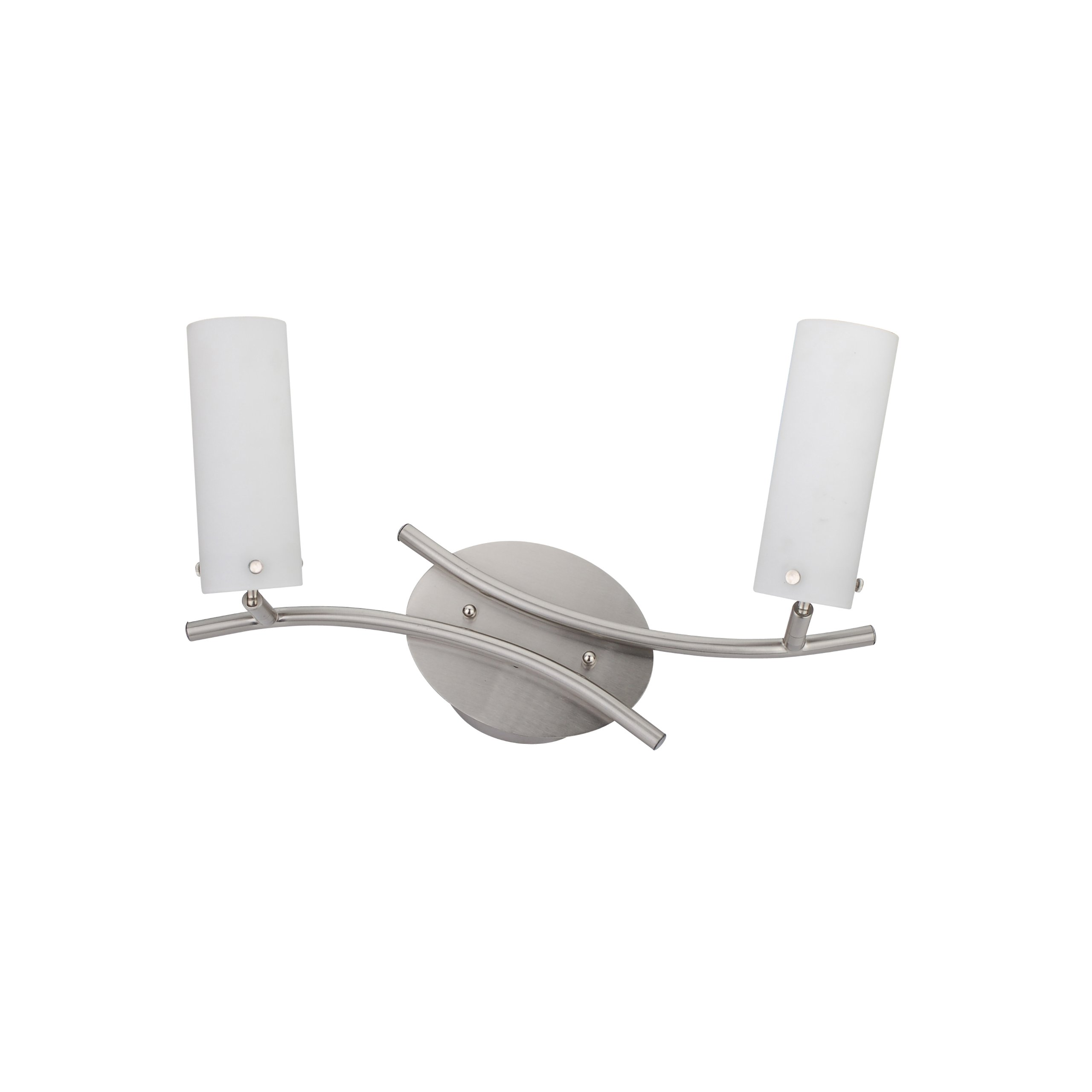 Whitfield ESTP55-2SS Hestia 18-Inch Energy Star Two-Light Track, Satin Steel with Dove White Glass
