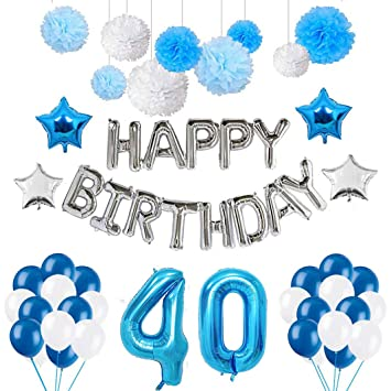 Amazon.com: Rosa Schleife Juego de decoración de cumpleaños ...