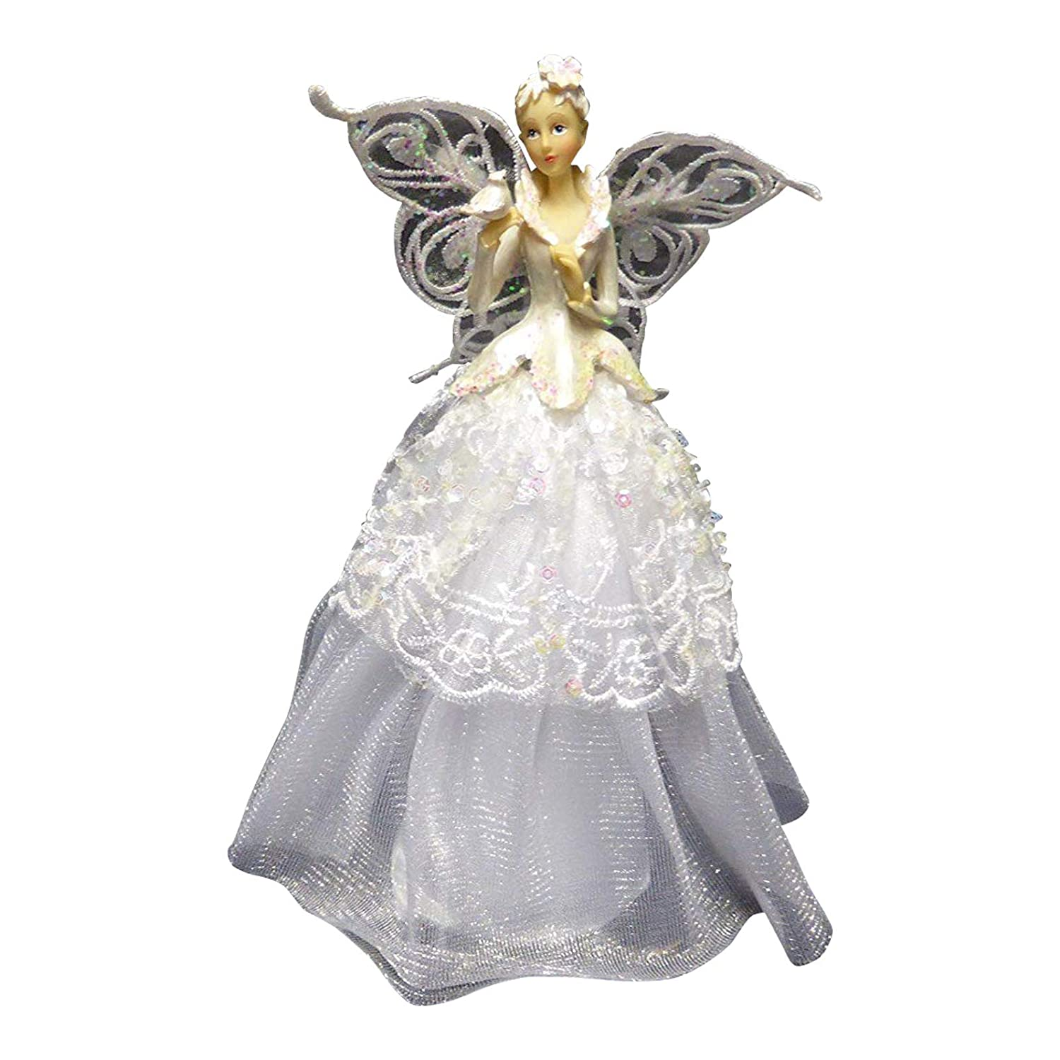 23cm Fairy Angel Christmas Tree Topper In White Xmas Tree Decoration UK-Gardens