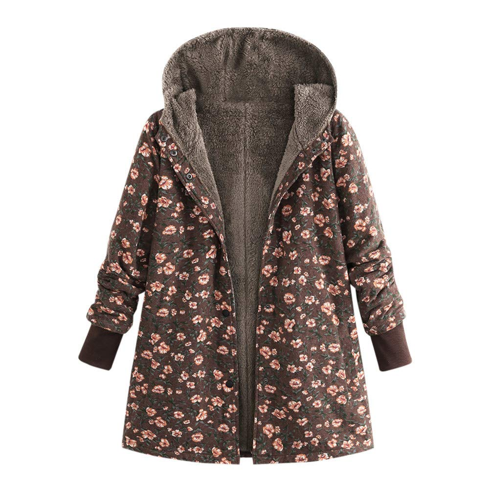Nadition Women's Coat Clearance,Vintage Ethnic Style Print Coat Winter Hooded Long Sleeve Fleece Thicken Hasp Coats Outwear