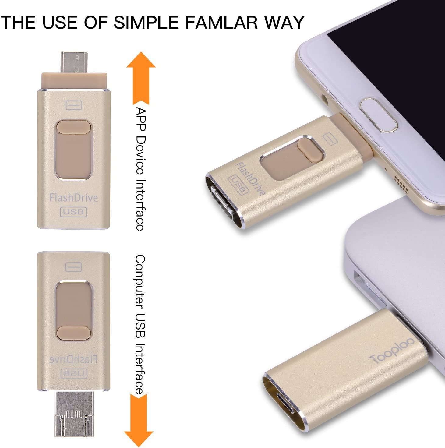 Memory Expansion for Apple IOS Android Computers Gold USB Flash Drives for iPhone 64GB Pen-Drive Memory Storage TOOPLOO 3 IN 1 Jump Drive Lightning Memory Stick External Storage