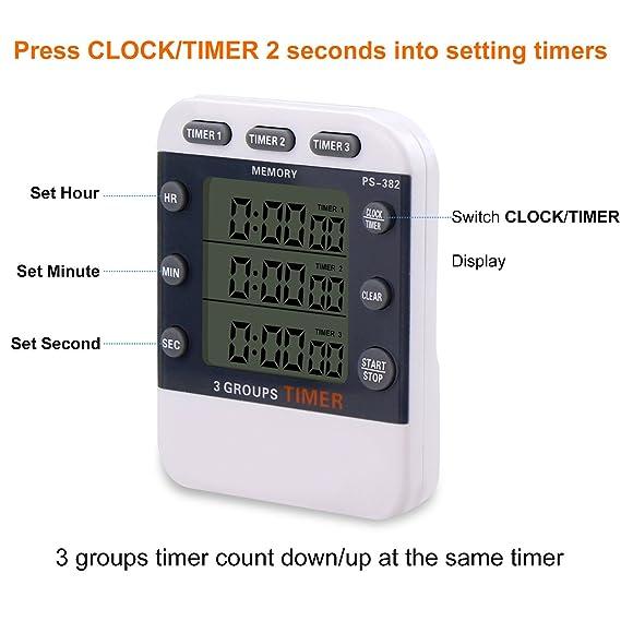Compra Temporizador digital CEEBON, 100 horas, reloj temporizador triple con cuenta atrás, reloj de cocina temporizador con pantalla LCD grande, ...