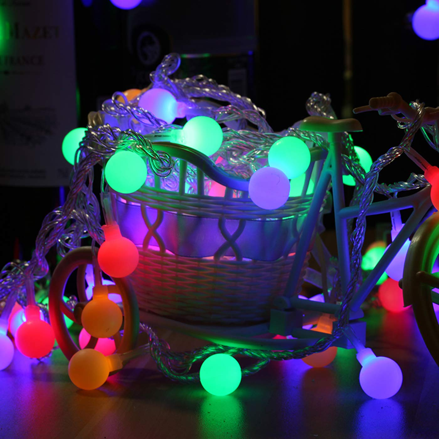 TOYYM Globe String Lights,100 LED 33ft/10m Waterproof Decorative String Lights Outdoor,Decorative Timer Fairy Lights for Garden,Wedding,Christmas,Indoor and Outdoor,Coloful