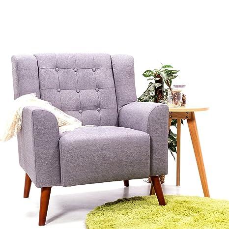 1 x gris lino tejido sillón sofá silla sala de estar salón ...