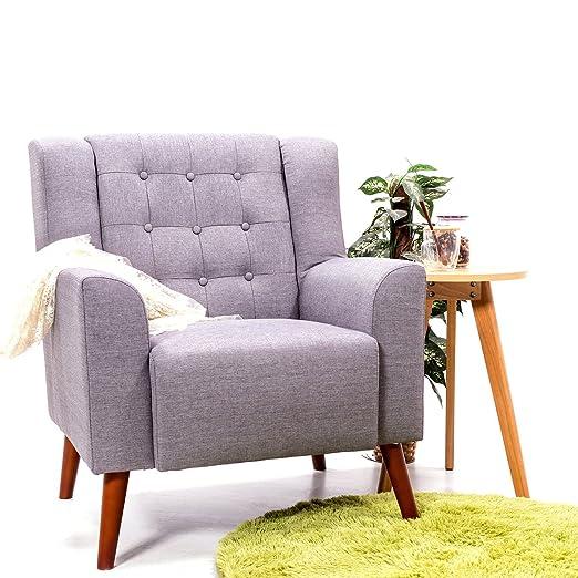Tela sillón sofá de lino sillón para sala de estar de ...