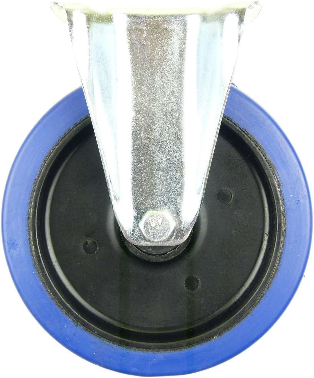 Rad 4 St/ück 200mm Blue Wheels Lenkrollen mit Feststellbremse//Bremse FS Transportrollen Elastik Blau 350kg INDUSTRIEQALIT/ÄT 4 x Brems