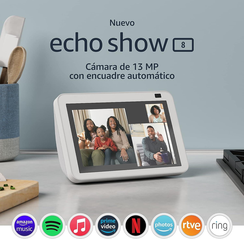 Nuevo Echo Show 8 (2.ª generación, modelo de 2021) | Pantalla HD inteligente con Alexa y cámara de 13 MP | Blanco
