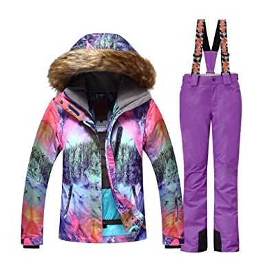 3168d30815 HOTIAN Women s High Windproof Technology Colorful Snowboard Ski Jacket Pants  Set