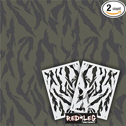 graphic relating to Tiger Stripe Stencil Printable called : Redleg Camo Tiger Stripe camo Stencil package