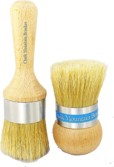 Chalk Mountain Brushes 3 Pack Boar Hair Bristle Brush Kit Designed for Maximum Comfort with Aluminum Ferrule to Ensure no Rusting Large Paint Medium Paint and Large Wax Brush