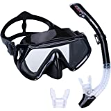 Supertrip Scuba Snorkel Set for Adults,Diving Snorkeling Freediving Mask Snorkel with 2 Mouth Piece &Bag