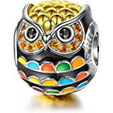 NINAQUEEN Singing owl Charms for Bracelet Necklace 925 Sterling Silver Gold Plated Animal Beads Charm for Children…