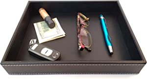 Valet Tray, Dresser Organizer, Desk Tray, Bedside Organizer, Key Bowl, Nightstand Organizer for Men, EDC Tray, Black PU Leather, 10.3 x 8.3 x 1.6 inches