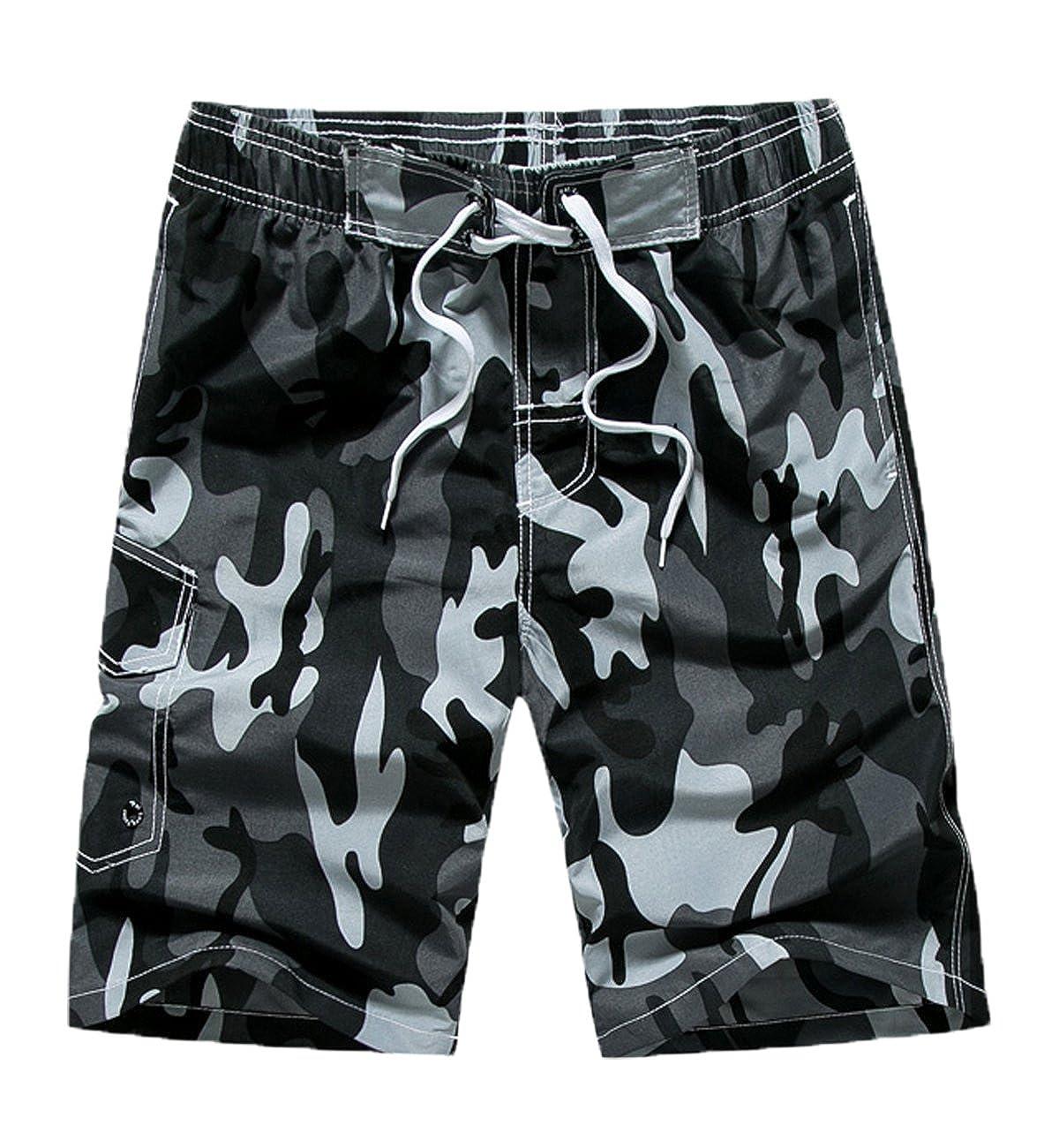 Mens Camouflage Coconut Tree Print Quick Dry Lightweight Beach Short Swim Trunk Three Pocket Mesh Lining
