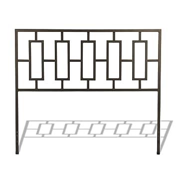 miami metal headboard with squared tubing and geometric design coffee finish full