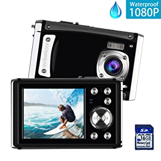 """DECOMEN Waterproof Digital Camera Underwater Sport Camcorder with 16MP 2.4"""" LCD Screen, 8x Digital Zoom, Flash, Mic and Rechargeable Battery with 16G SD Card"""