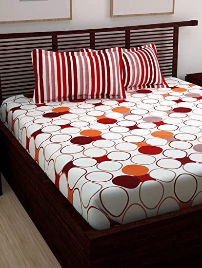 11dcc959d4a Story Home 100% Cotton Bed Sheet for Double Bed with 2 Pillow Covers ...