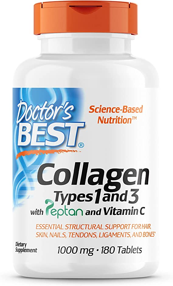 Doctors Best Collagen Types 1 & 3 With Peptan, 1000Mg - 180 Tabs 180 Unidades 245 g