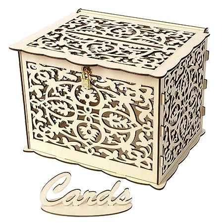 Prosperveil - Buzón de madera para tarjetas de boda con ...
