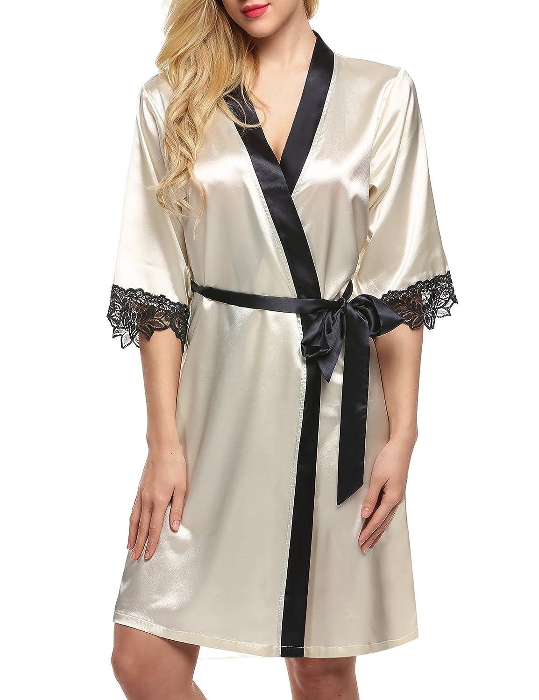 Ekouaer Womens Kimono Robe Silk Satin Bridal Lingerie Short Sleepwear XS-XL EK003331#
