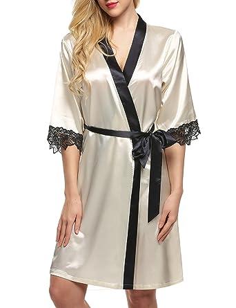 Ekouaer Women s Kimono Robe 2 1 Sleeved Nightgown Robe Silk Robe Party Gown Short  Pure 219c95545