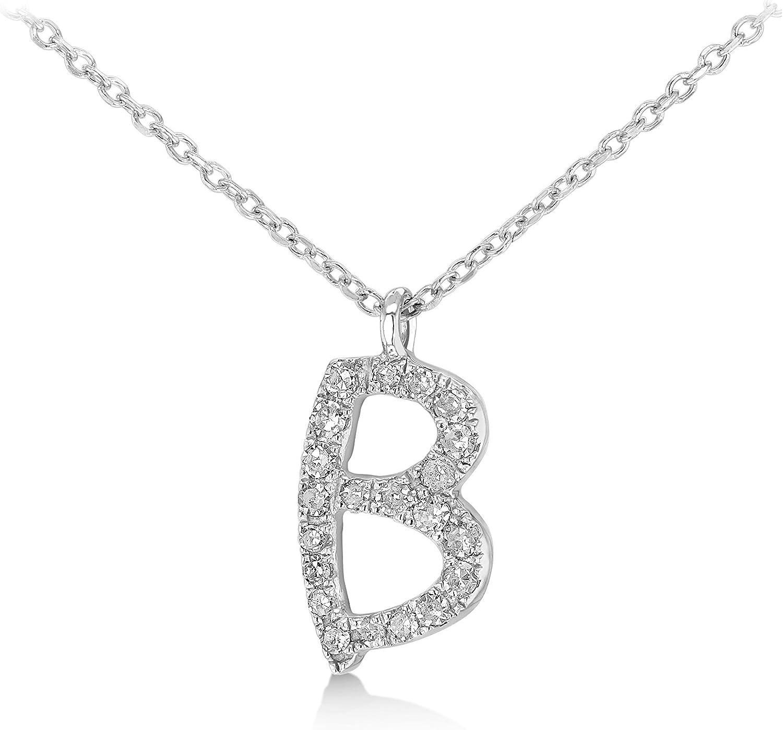Carissima Gold Collar de mujer, de oro blanco de 9K con diamantes y colgante