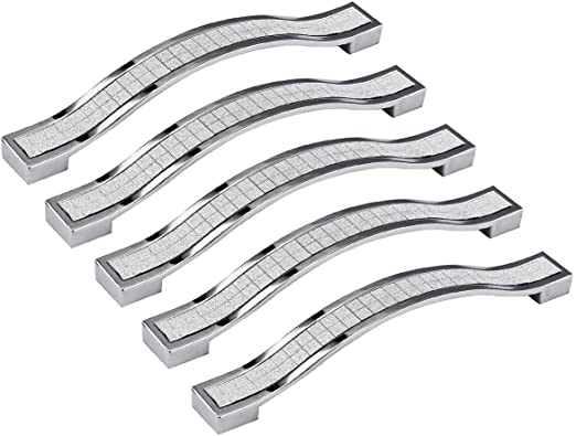 10x POLISHED CHROME 96mm Curved Kitchen Cupboard//Cabinet Door//Drawer Pull Handle