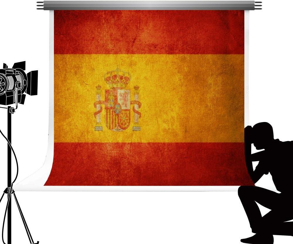 Kate patrón de bandera de España Photo Studio Telón de fondo Fotografía de pared Vintage fondos para Nacional ceremonia Photo Studio fotos 7 x 5ft/2,2 x 1,5 m: Amazon.es: Electrónica