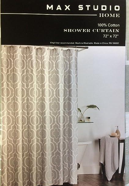 Max Studio Home Cotton Shower Curtain Moroccan Tile Quatrefoil Gray White Lattice Grey