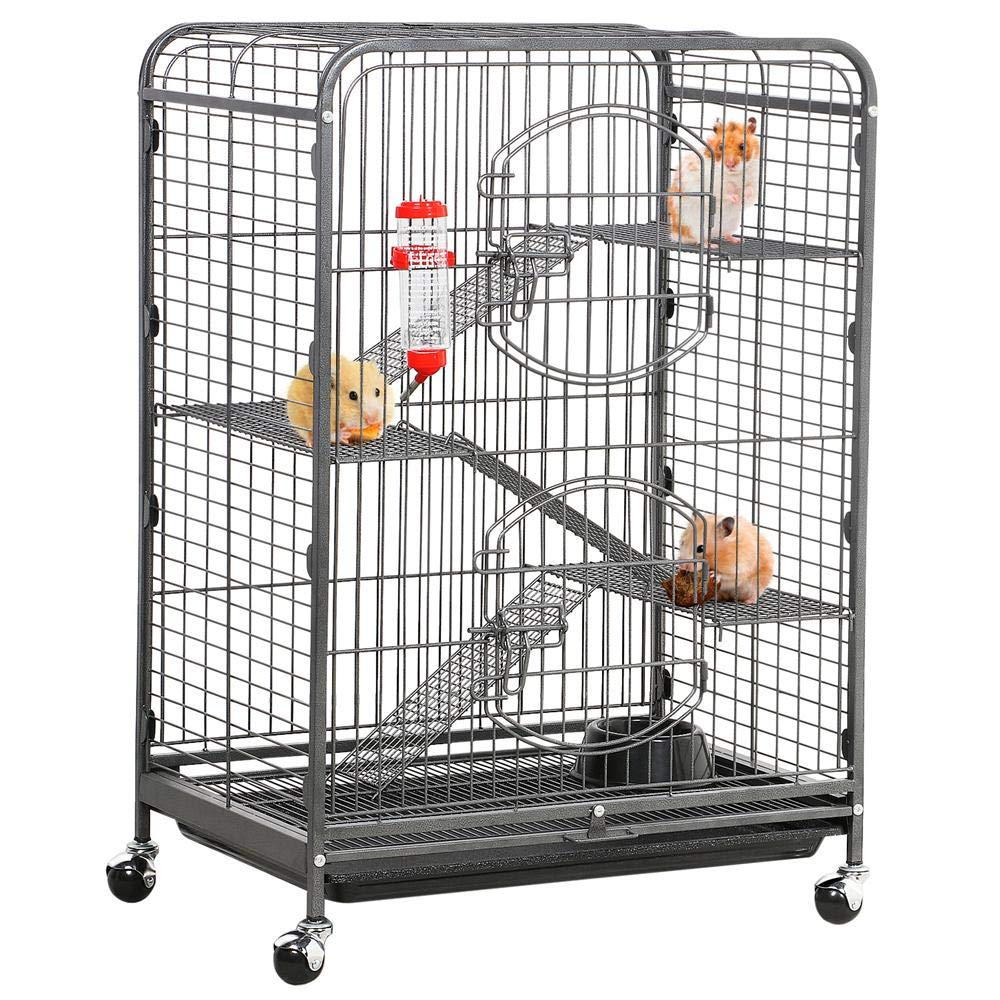 "Yaheetech 37''/52"" Metal Ferret Cage Indoor Outdoor Small Animals Hutch with 2 Front Doors/3 Front Doors/Feeder/Wheels for Guinea Pig Chinchilla Squirrel Large Rat Black"