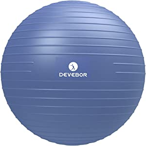 DEVEBOR Exercise Ball for Yoga Balance Fitness Stability Workout Guide, Professional Grade Extra Thick Yoga Ball Chair with Quick Pump, Anti-Burst Heavy Duty Stability Ball