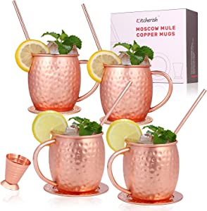 Kitcherish Moscow Mule Copper Mugs Set of 4 Hammered Cocktail Gift Set 18 oz Copper Cups for Drinking with Straws,Coasters and Jigger