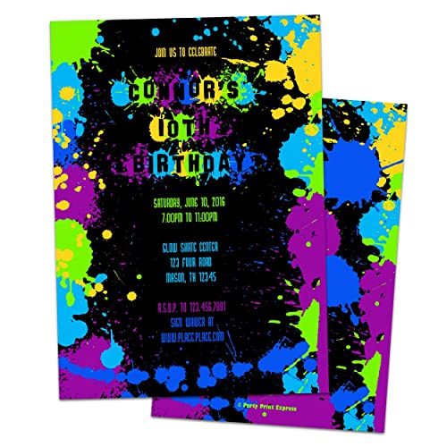amazon com neon paint splatter birthday party invitations boy girl