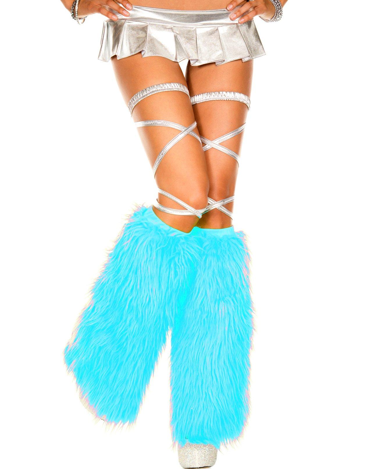 MUSIC LEGS Women's Faux Fur Leg Warmers, Turquoise, One Size